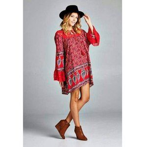 Red Boho Lace Floral Print Flowy Dress Tunic